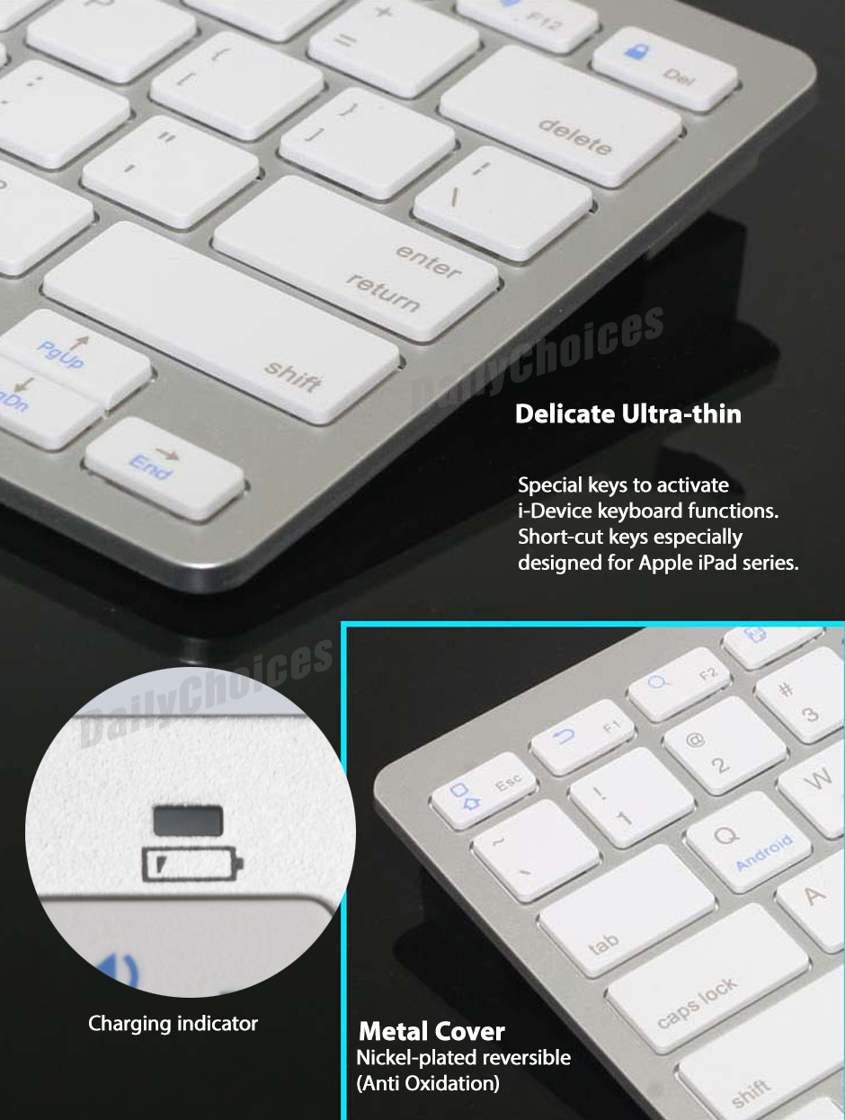 white bluetooth wireless keyboard for pc macbook mac ipad iphone ebay. Black Bedroom Furniture Sets. Home Design Ideas