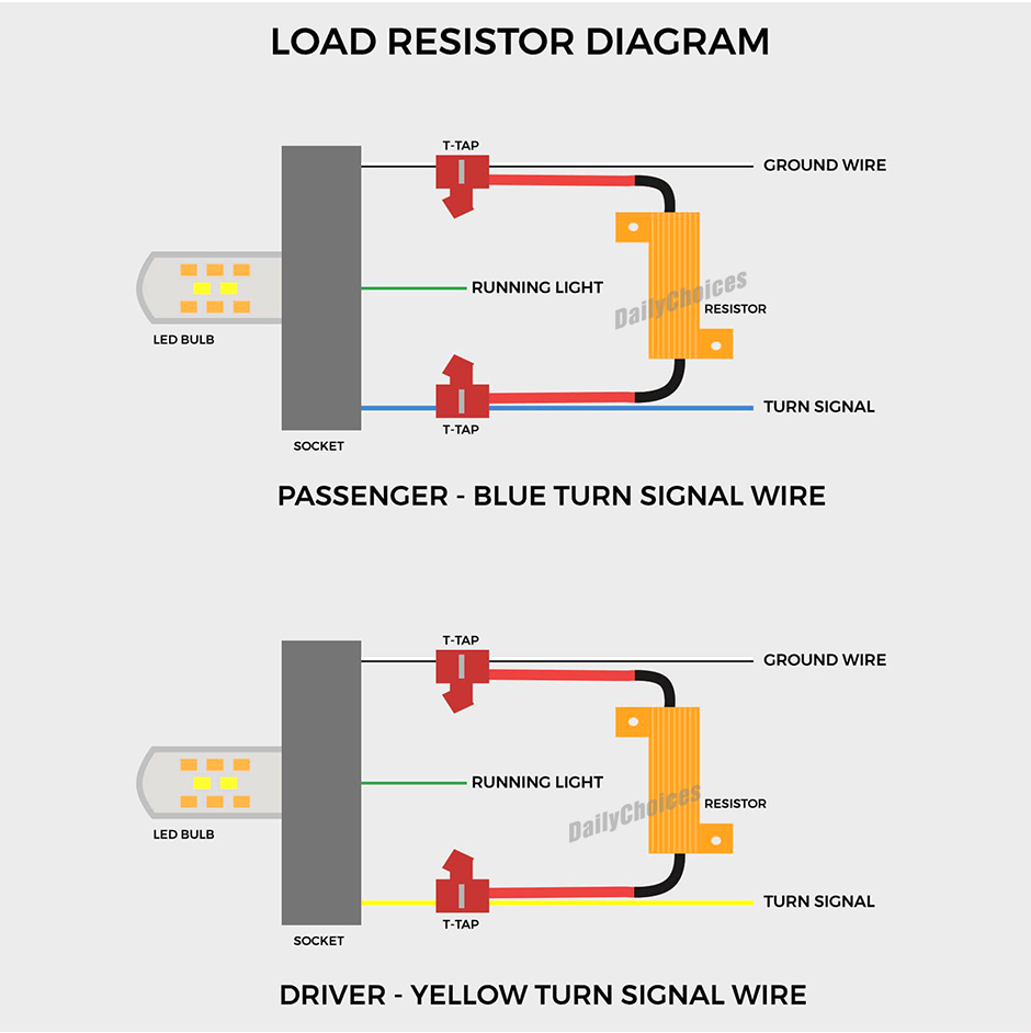 8x Low Voltage Led Load Resistor 4 Trailer Tail Stop