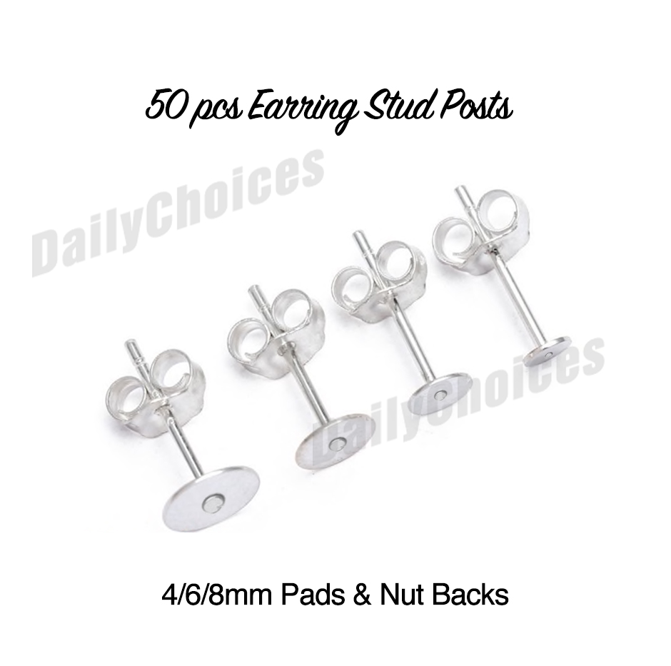 50 Pairs 100 Surgical Stainless Steel Earring Posts // Backs 6 mm Flat Pad